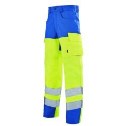 Pantalon haute visibilité jaune - bleu azur