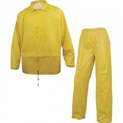Ensemble de pluie polyester enduit PVC jaune