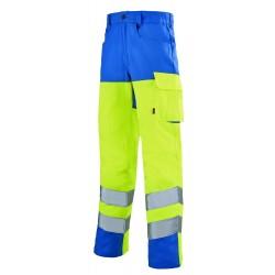 Pantalon haute visibilité EJ77cm jaune - bleu azur