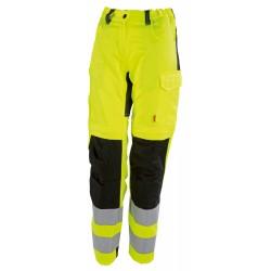 Pantalon haute visibilité femme EJ78cm avec poches genoux jaune hivi