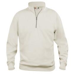 Sweat-shirt mixte col zip Clique Basic Half Zip beige clair 81